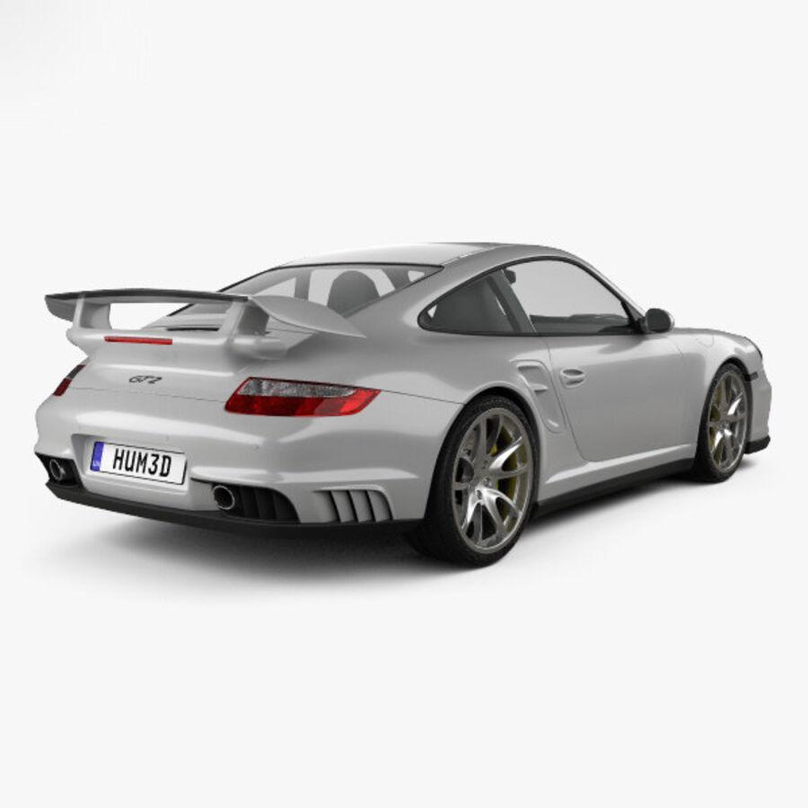 Porsche 911 GT2 (997) 2007 royalty-free 3d model - Preview no. 2
