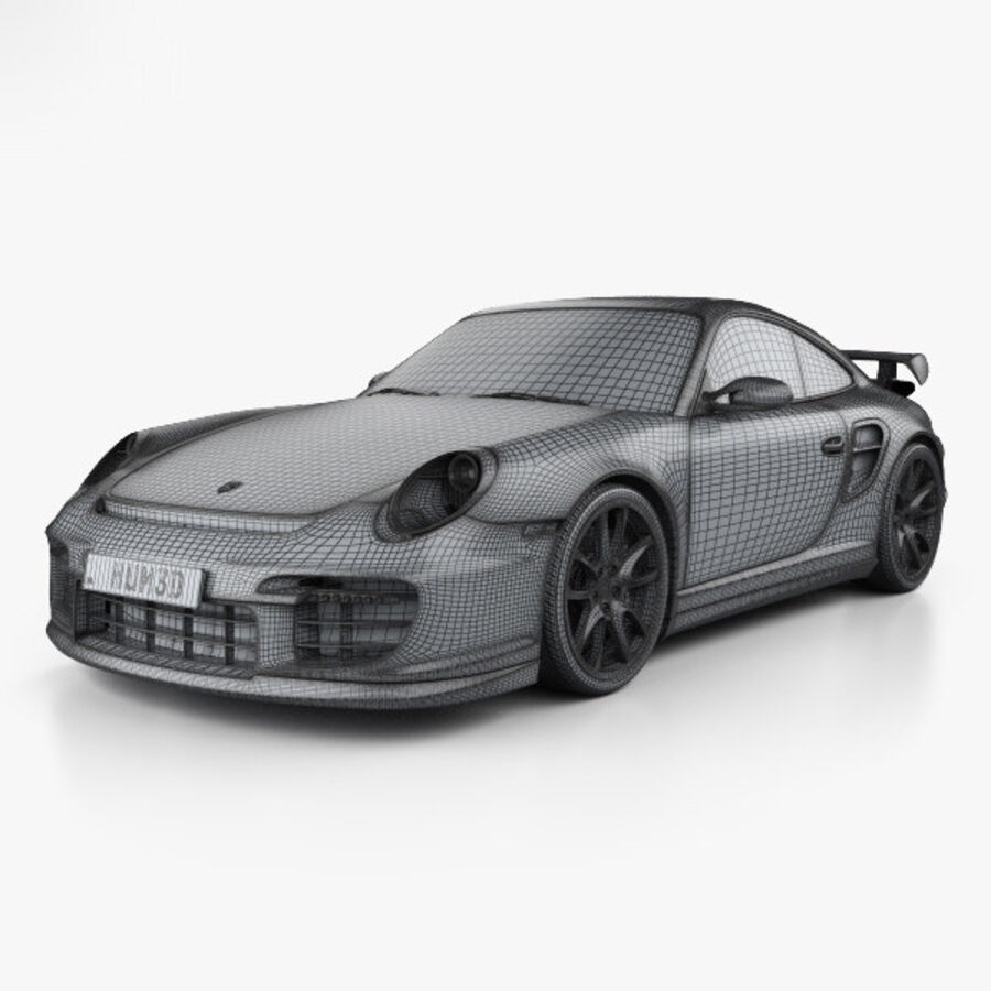 Porsche 911 GT2 (997) 2007 royalty-free 3d model - Preview no. 3