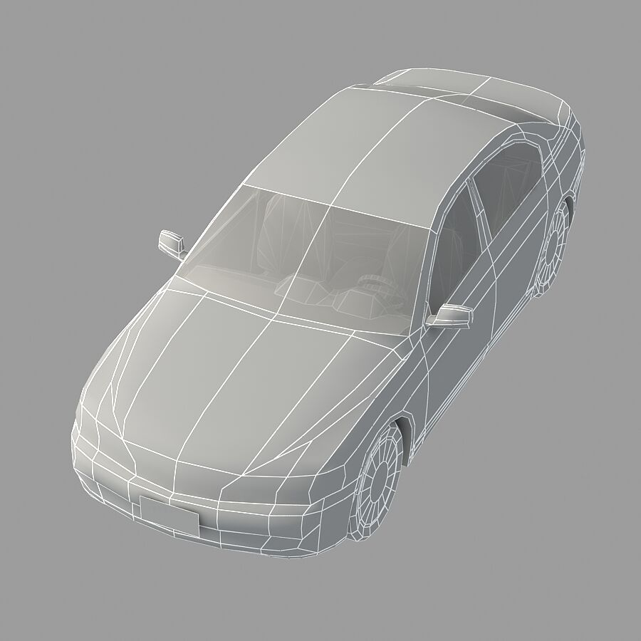 Jenerik Lüks Sedan Araba royalty-free 3d model - Preview no. 15