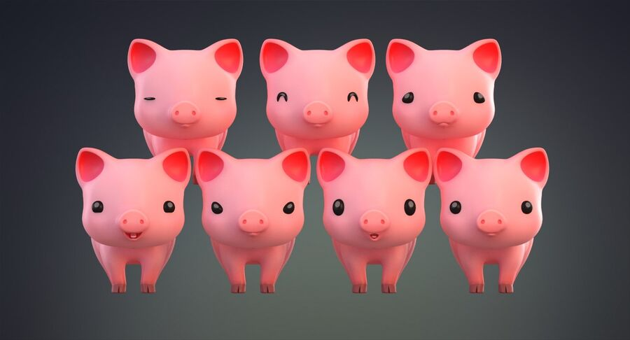 Cartoon Farm Animals Pack Collection royalty-free 3d model - Preview no. 23