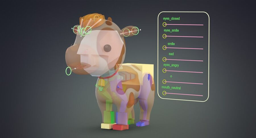 Cartoon Farm Animals Pack Collection royalty-free 3d model - Preview no. 8