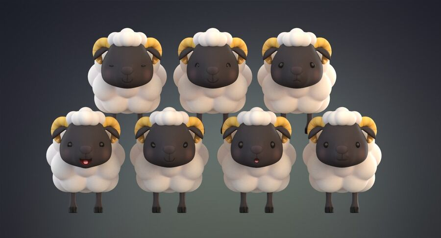 Cartoon Farm Animals Pack Collection royalty-free 3d model - Preview no. 32