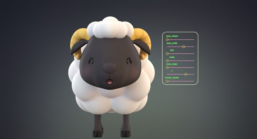 Cartoon Farm Animals Pack Collection royalty-free 3d model - Preview no. 34
