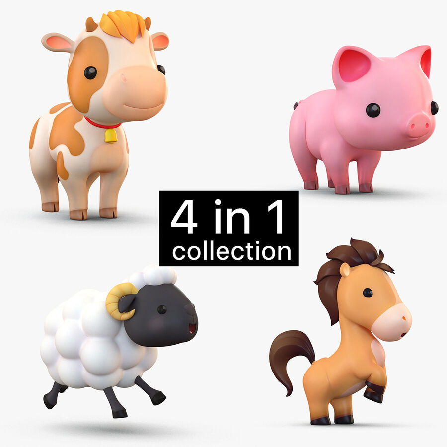 Cartoon Farm Animals Pack Collection royalty-free 3d model - Preview no. 1