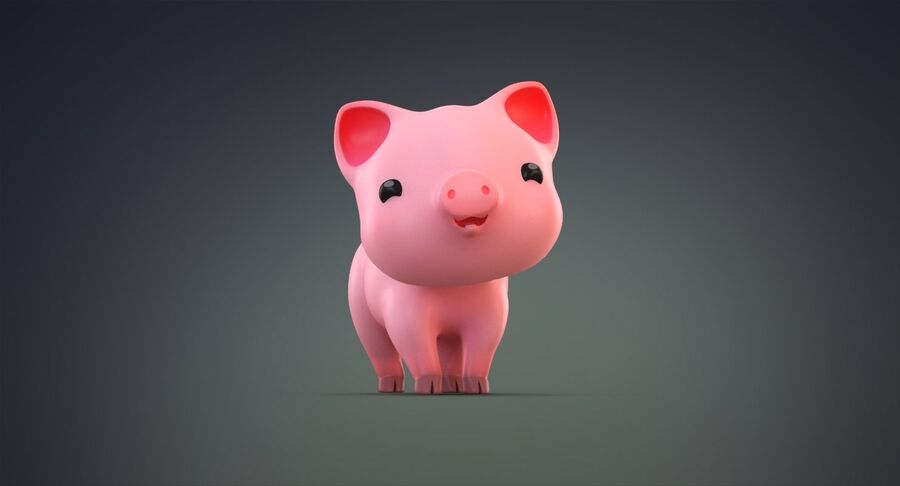 Cartoon Farm Animals Pack Collection royalty-free 3d model - Preview no. 19