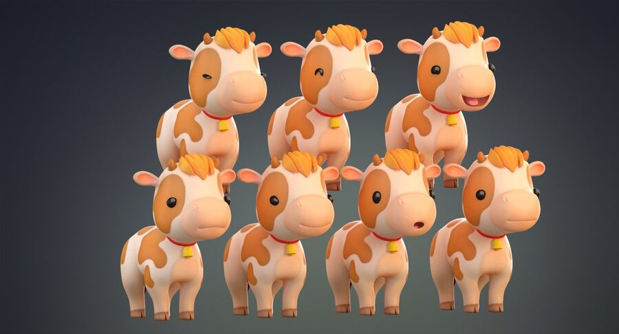 Cartoon Farm Animals Pack Collection royalty-free 3d model - Preview no. 7