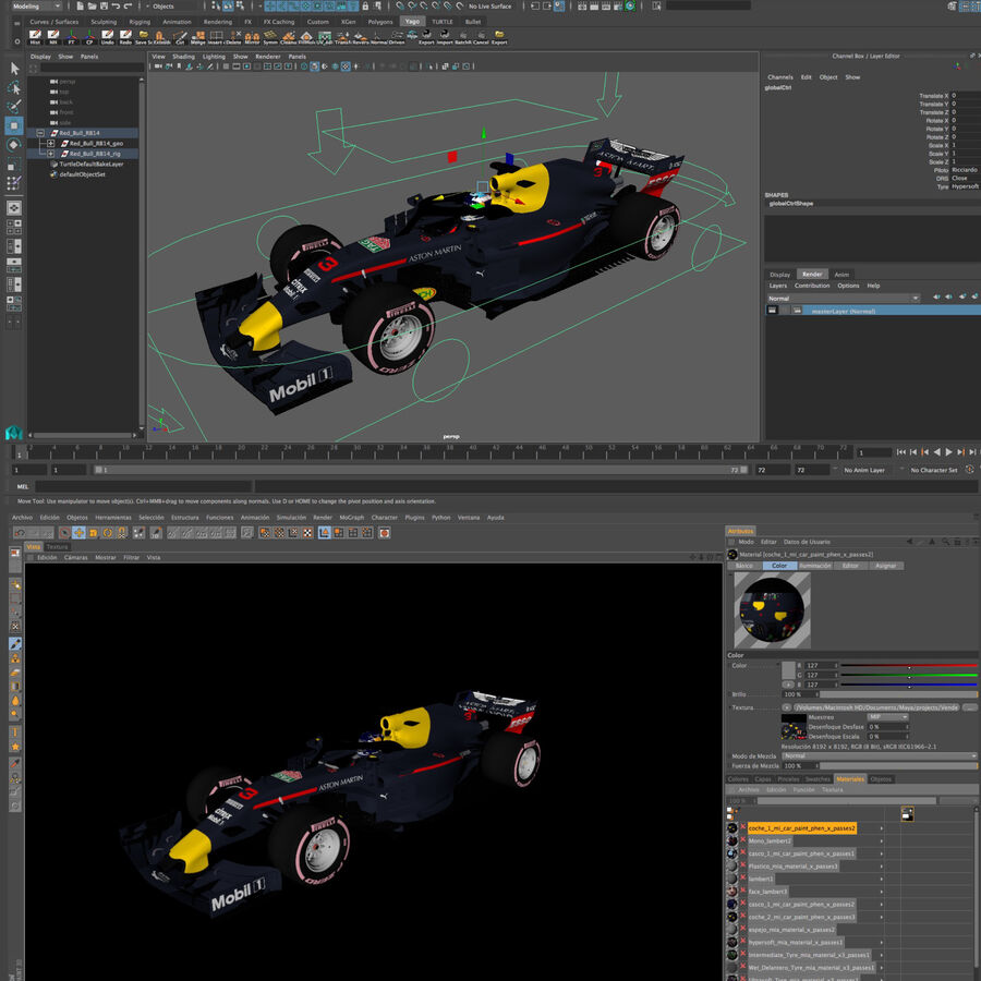 Formule 1 auto 2018 royalty-free 3d model - Preview no. 16