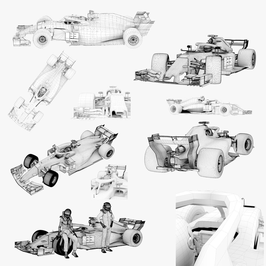Formel 1-bil 2018 royalty-free 3d model - Preview no. 11