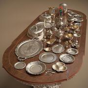 Midpoly Silver Holloware 서비스 세트 (44 품목) 3d model