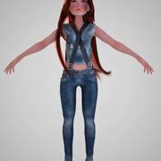만화 소녀 청바지 3d model