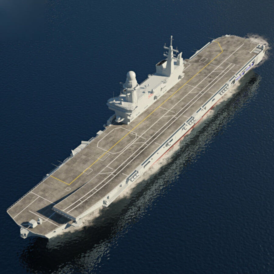 Cavour aircraft carrier royalty-free 3d model - Preview no. 9