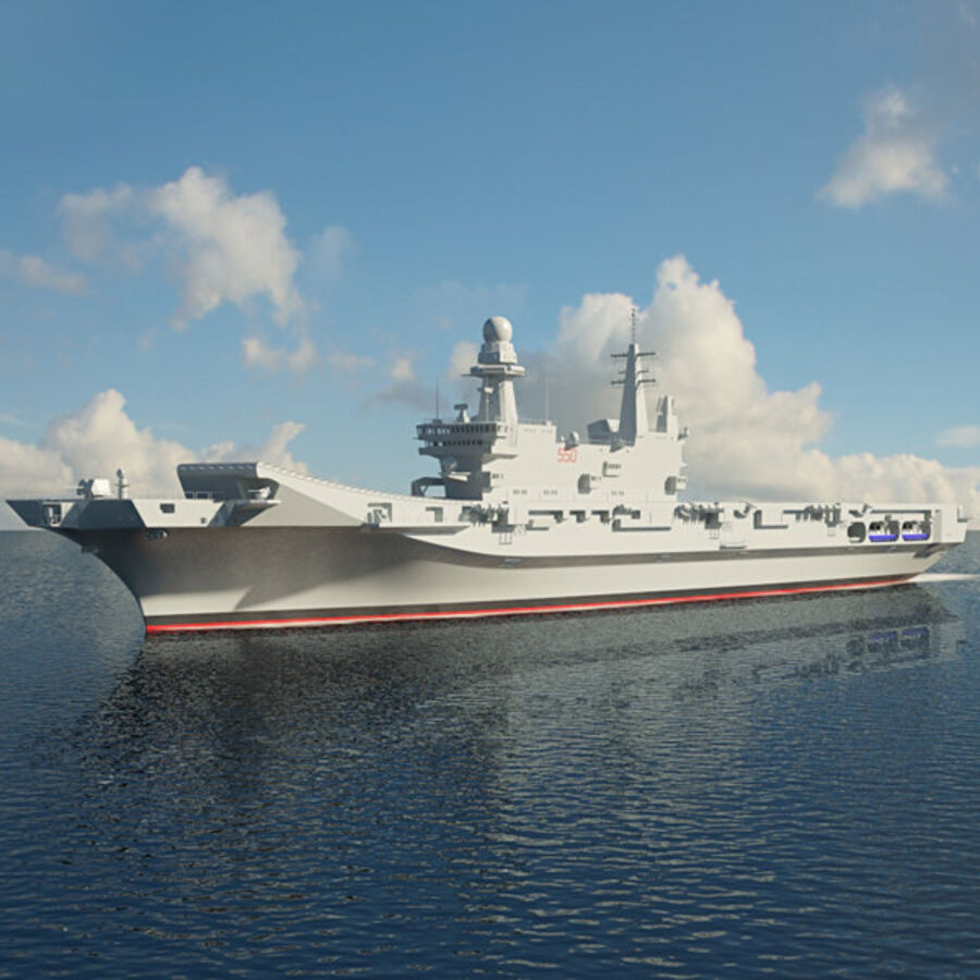 Cavour aircraft carrier royalty-free 3d model - Preview no. 1