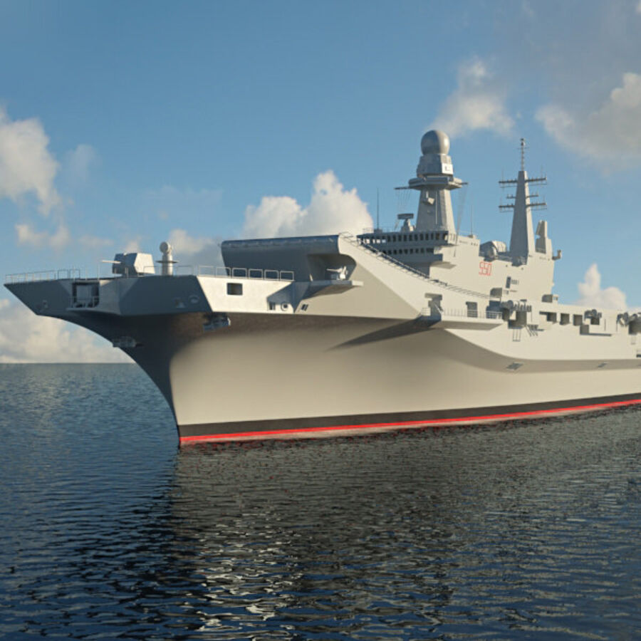 Cavour aircraft carrier royalty-free 3d model - Preview no. 6