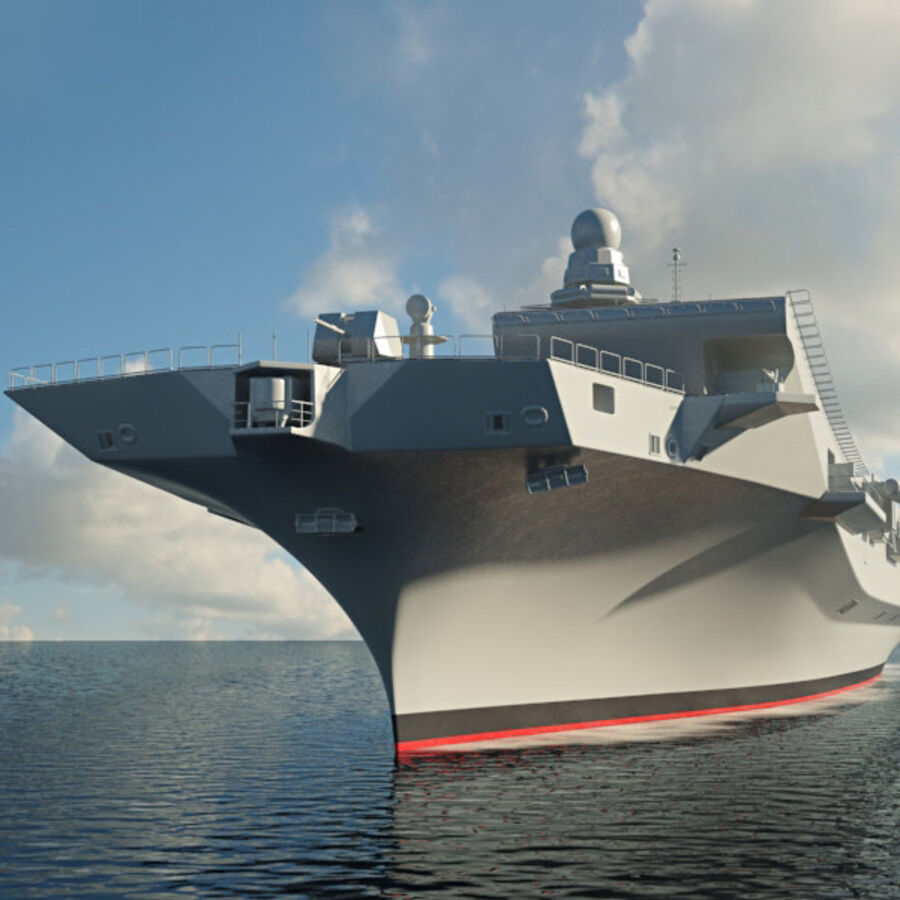 Cavour aircraft carrier royalty-free 3d model - Preview no. 8