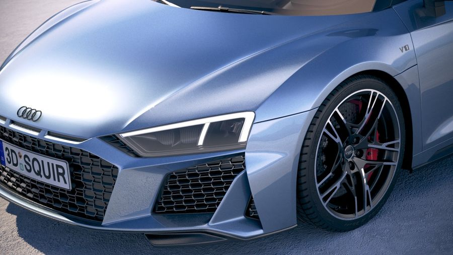 Audi R8 Spyder 2019 royalty-free 3d model - Preview no. 3