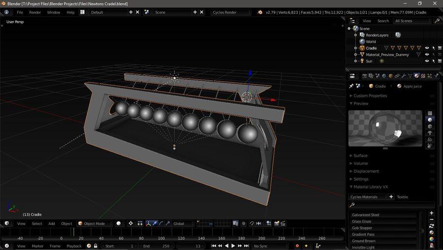 牛顿的摇篮 royalty-free 3d model - Preview no. 1