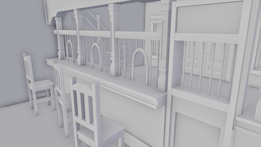 Old Western Bank royalty-free 3d model - Preview no. 15