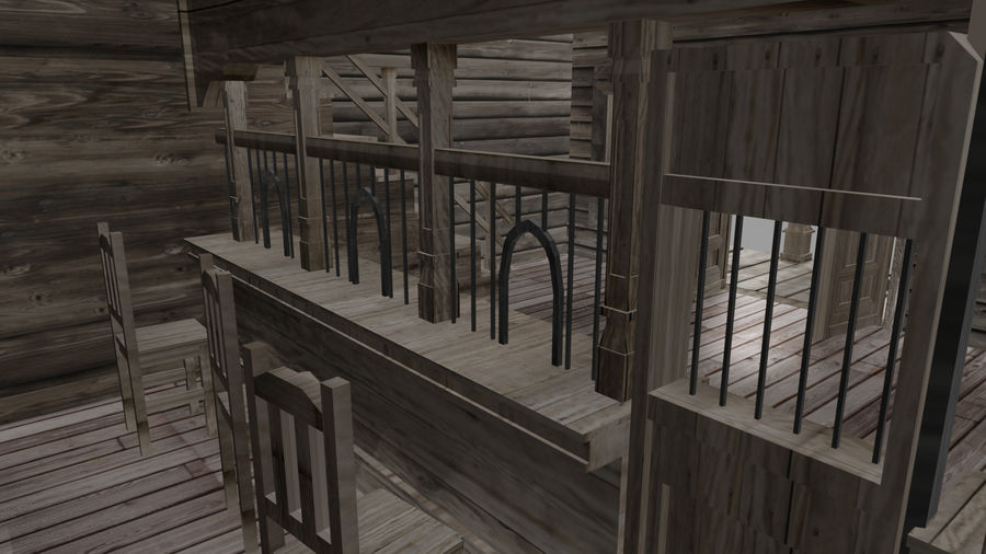 Old Western Bank royalty-free 3d model - Preview no. 11