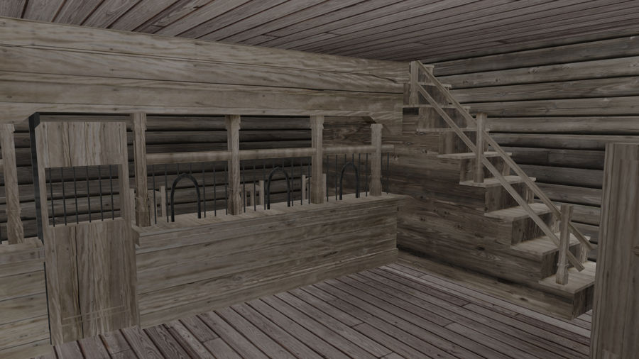 Old Western Bank royalty-free 3d model - Preview no. 10