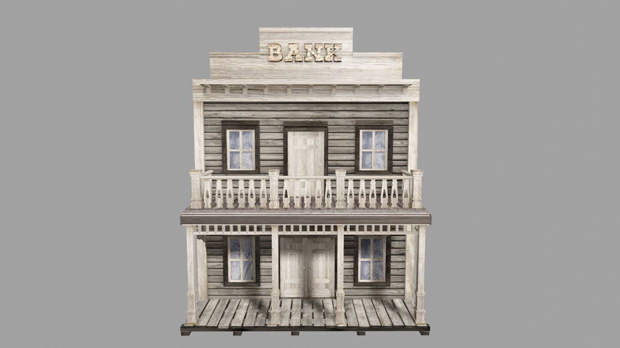 Old Western Bank royalty-free 3d model - Preview no. 2