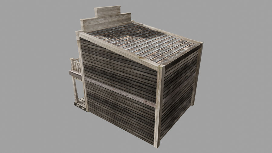 Old Western Bank royalty-free 3d model - Preview no. 5