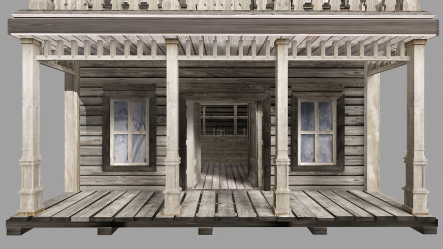 Old Western Bank royalty-free 3d model - Preview no. 7