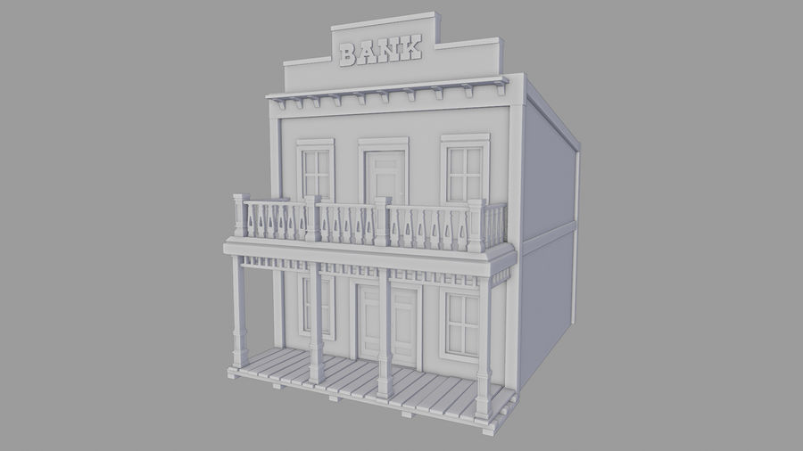 Old Western Bank royalty-free 3d model - Preview no. 13