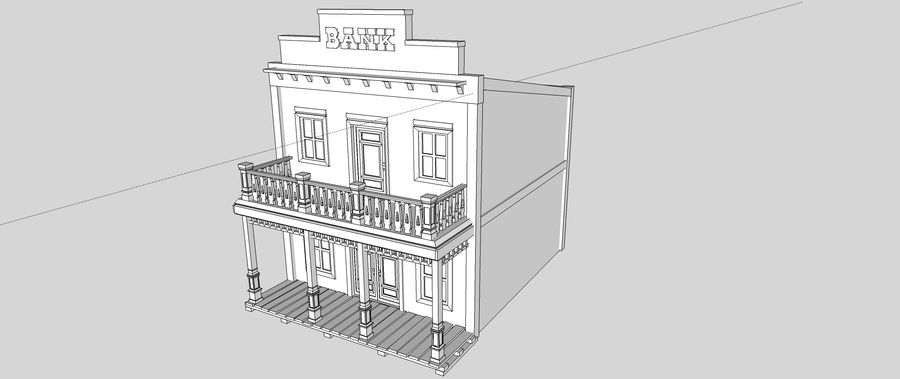 Old Western Bank royalty-free 3d model - Preview no. 17