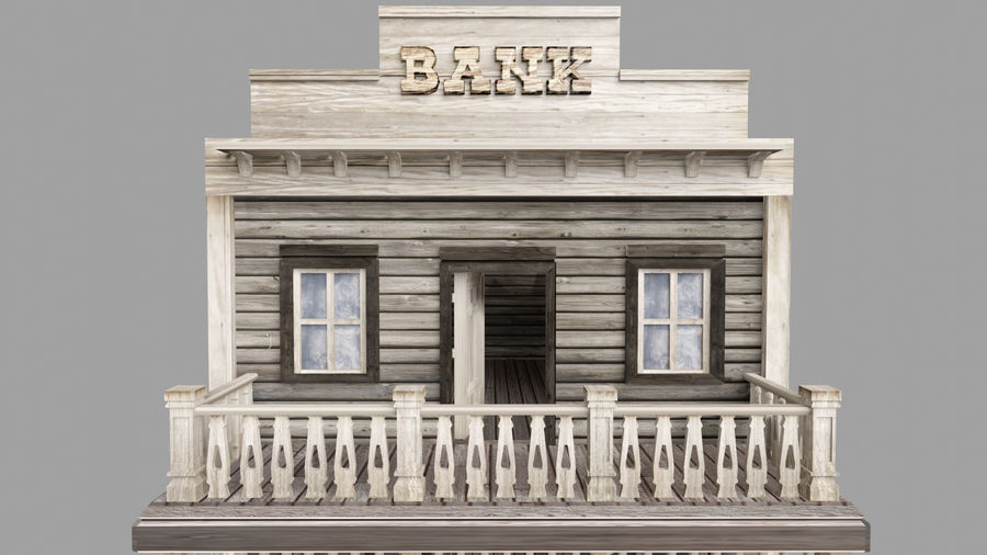 Old Western Bank royalty-free 3d model - Preview no. 9