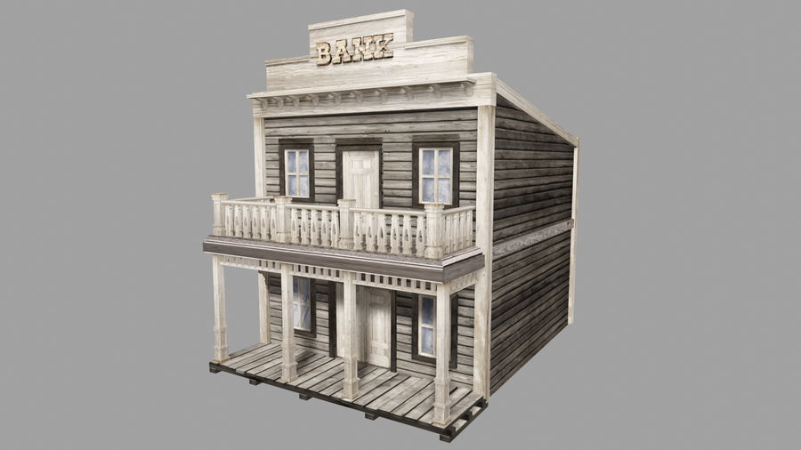 Old Western Bank royalty-free 3d model - Preview no. 3