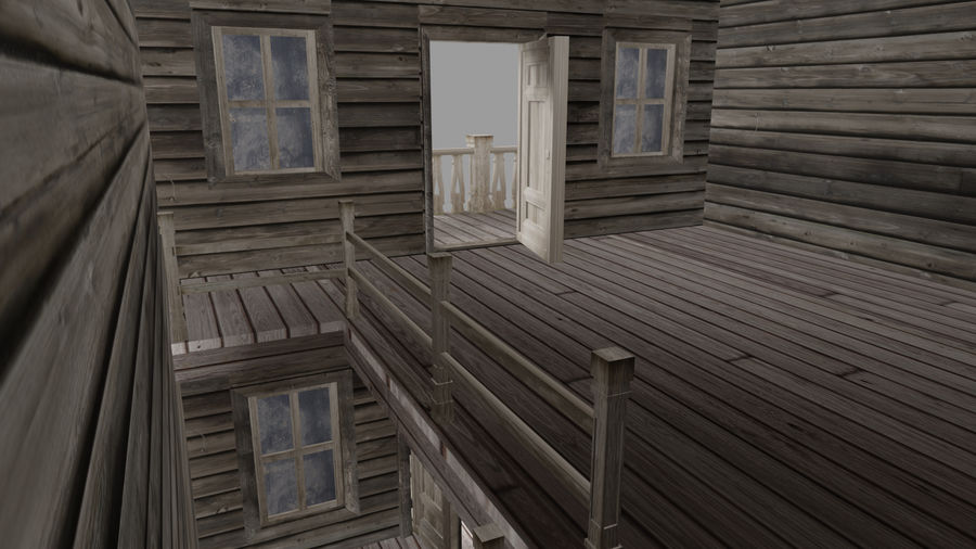 Old Western Bank royalty-free 3d model - Preview no. 12