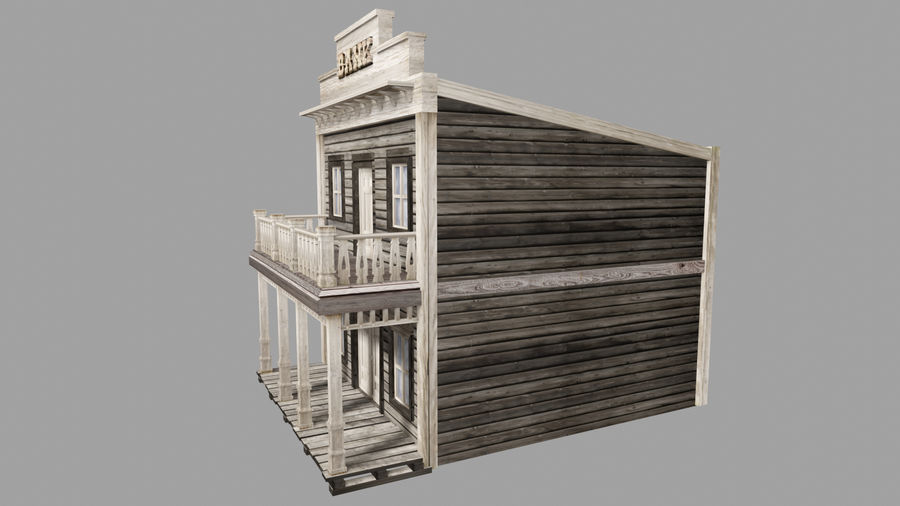 Old Western Bank royalty-free 3d model - Preview no. 4