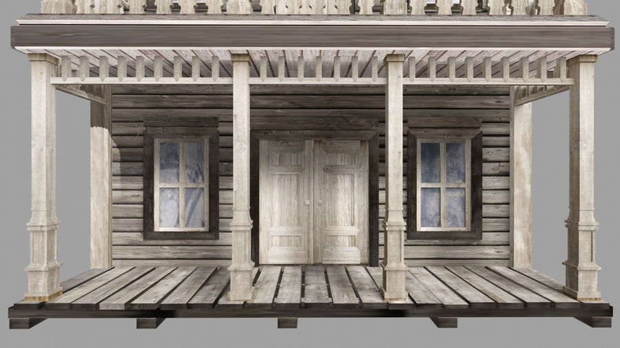 Old Western Bank royalty-free 3d model - Preview no. 6