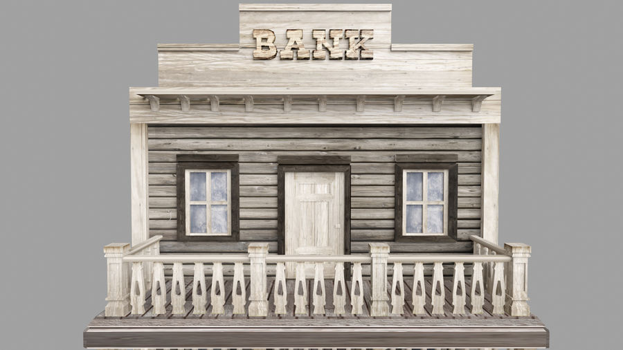 Old Western Bank royalty-free 3d model - Preview no. 8