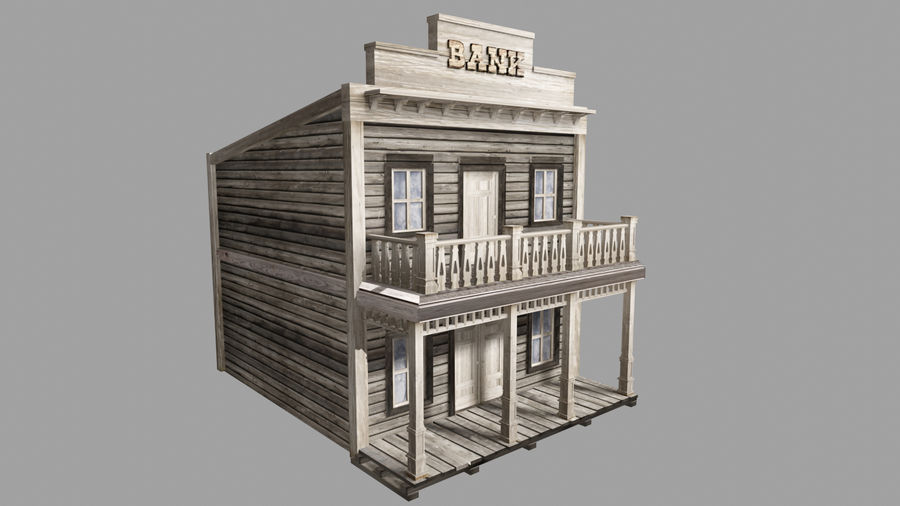 Old Western Bank royalty-free 3d model - Preview no. 1