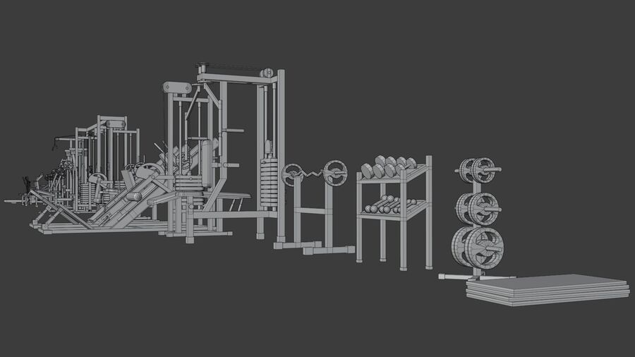Gym Equipments royalty-free 3d model - Preview no. 43