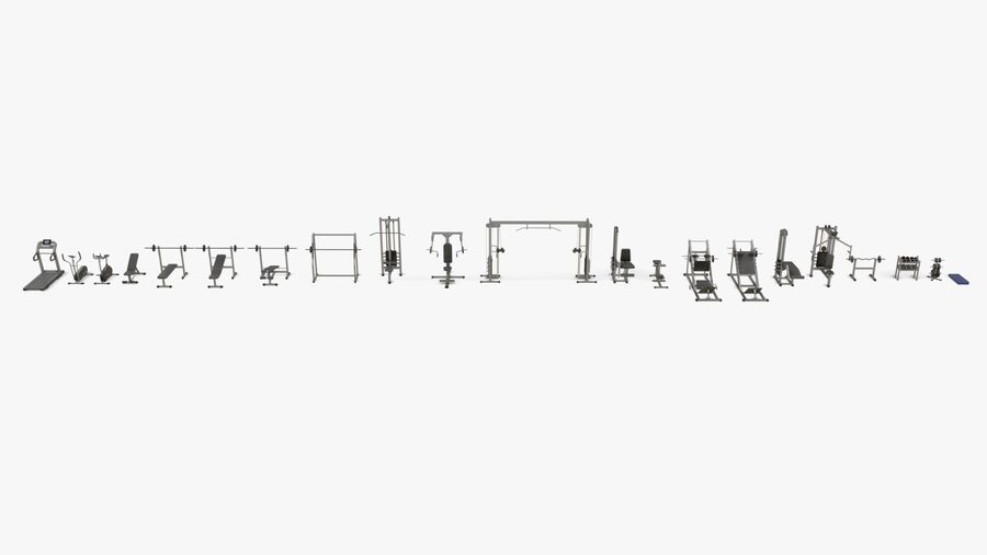 Gym Equipments royalty-free 3d model - Preview no. 40