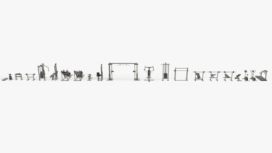 Gym Equipments royalty-free 3d model - Preview no. 41