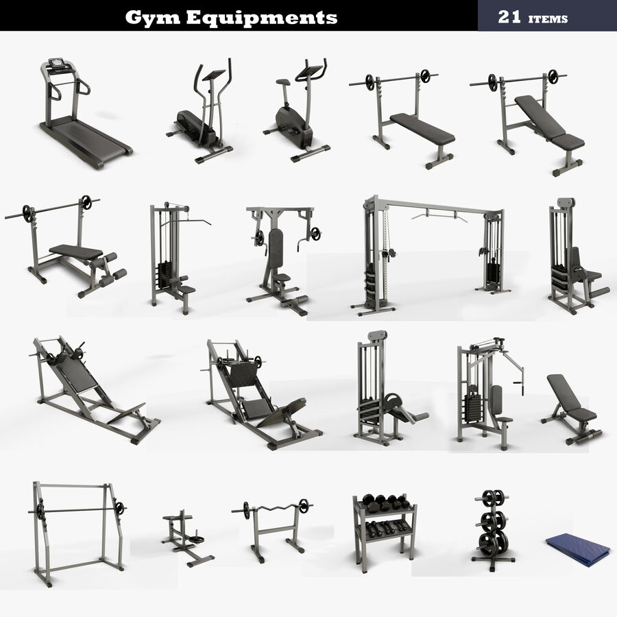Gym Equipments royalty-free 3d model - Preview no. 1