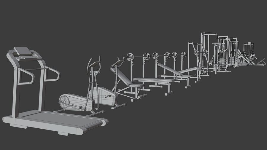 Gym Equipments royalty-free 3d model - Preview no. 42