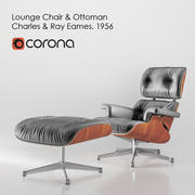 Fauteuil Lounge et Ottomane Charles & Ray Eames, 1956 3d model