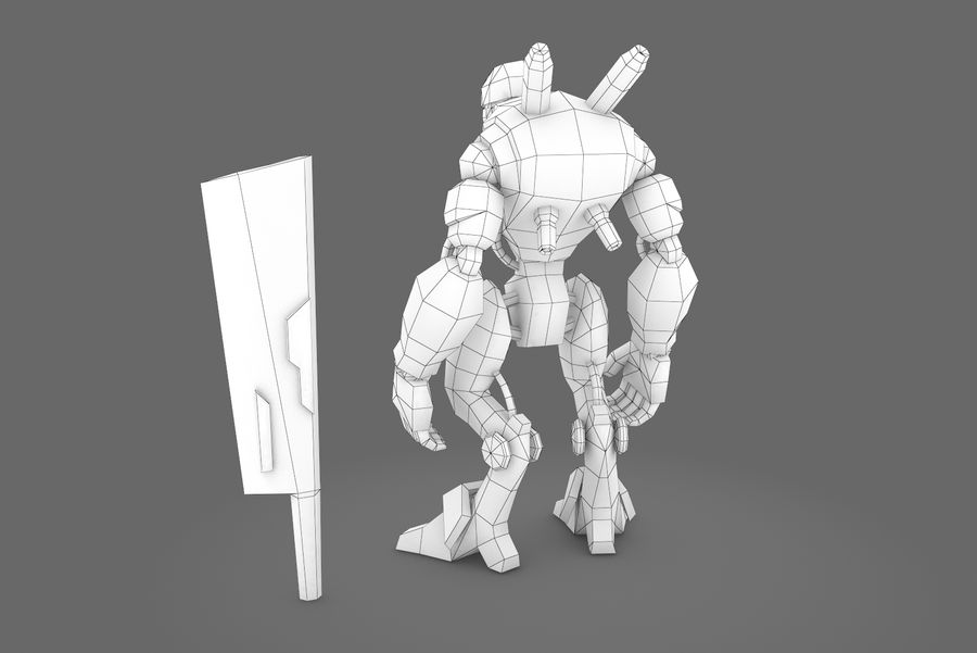Animated Rigged Robot Type B royalty-free 3d model - Preview no. 4