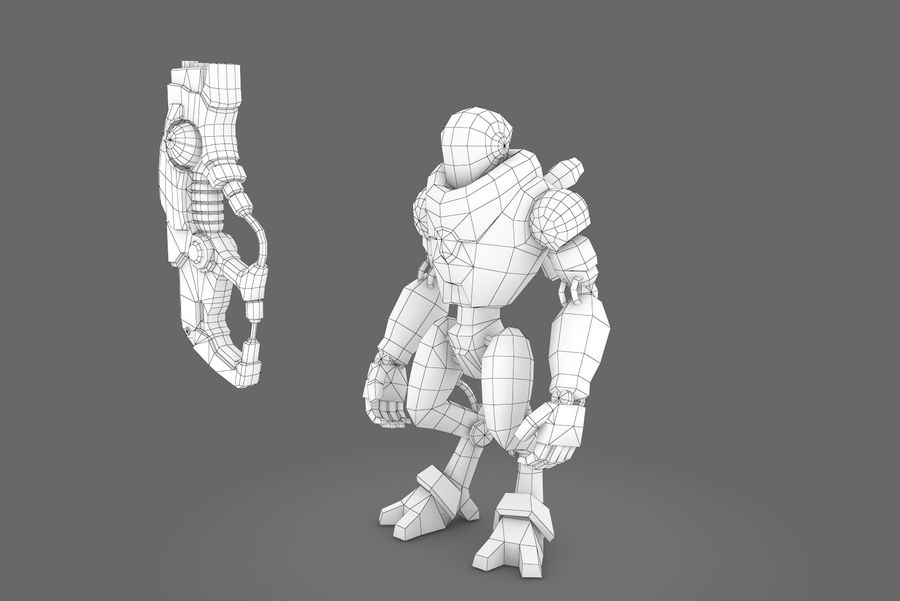 Animated Rigged Robot Type C royalty-free 3d model - Preview no. 14