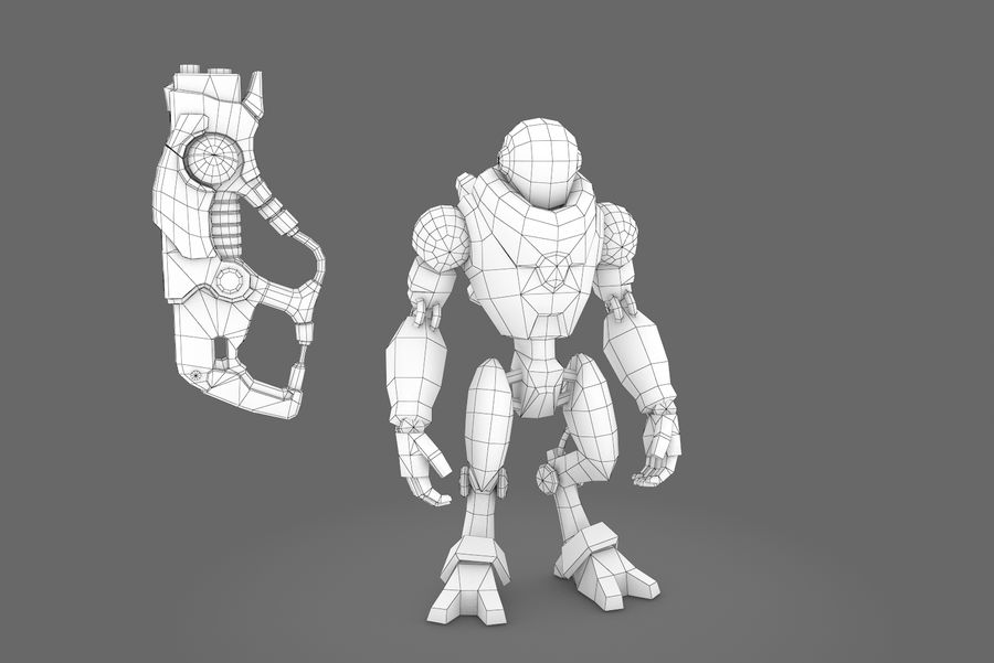 Animated Rigged Robot Type C royalty-free 3d model - Preview no. 10