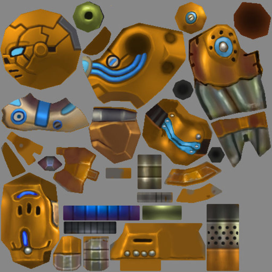 Animated Rigged Robot Type C royalty-free 3d model - Preview no. 7