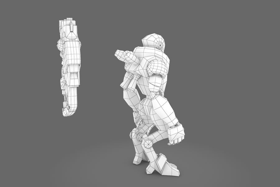 Animated Rigged Robot Type C royalty-free 3d model - Preview no. 3