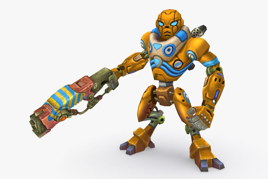 Animated Rigged Robot Type C royalty-free 3d model - Preview no. 2