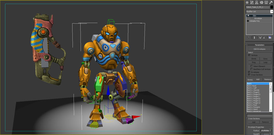Animated Rigged Robot Type C royalty-free 3d model - Preview no. 8