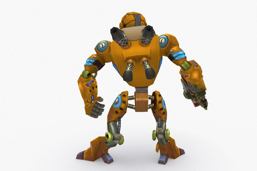 Animated Rigged Robot Type C royalty-free 3d model - Preview no. 4