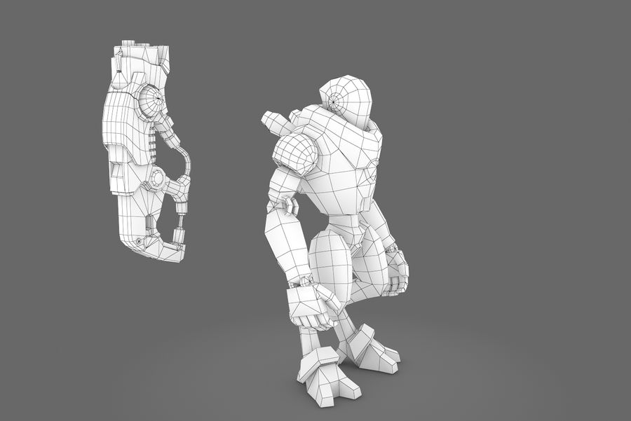 Animated Rigged Robot Type C royalty-free 3d model - Preview no. 11